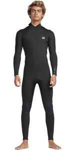2019 Billabong Mens 3/2mm Absolute Back Zip Flatlock Wetsuit Black / Silver N43M33