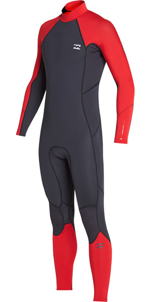 2019 Billabong Mens 3/2mm Furnace Absolute Back Zip Wetsuit Red N43M33