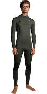 2019 Billabong Mens Furnace Absolute 4/3mm Chest Zip Wetsuit Olive Q44M09