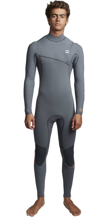 2019 Billabong Mens Furnace Comp 4/3mm Zipperless Wetsuit Dark Grey Q44M05