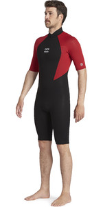 2021 Billabong Mens Intruder 2mm Back Zip Shorty Wetsuit 042M19 - Red