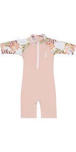 2020 Billabong Toddler Girls Logo Short Sleeve Rash / Sun Suit S4TY06 - Pink Haze