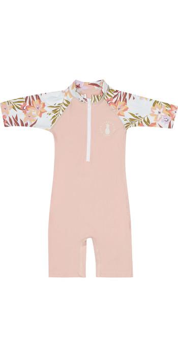 2020 Billabong Toddler Girls Logo Short Sleeve Rash / Sun Suit S4TY06 - Pink Haze