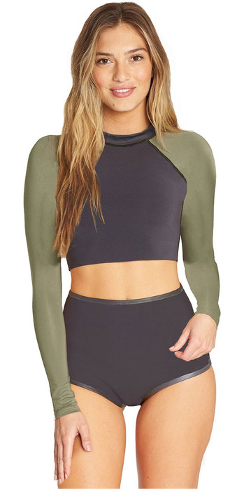 2019 Billabong Womens 1mm Reversible Neoprene Long Sleeve Crop Top Black Olive N41G10