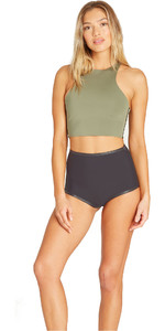 2019 Billabong Womens 1mm Neoprene Sleeveless Crop Top Black Olive N41G09