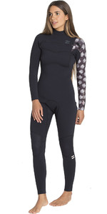 2019 Billabong Womens 3/2mm Furnace Carbon Comp Chest Zip Wetsuit Black Print N43G02