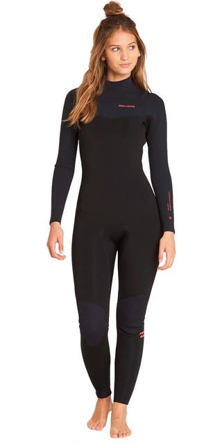2018 Billabong Womens Furnace Carbon Comp 4/3mm Chest Zip Wetsuit Black L44g02 Picture