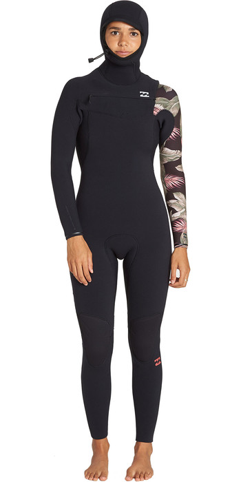 2019 Billabong Womens Furnace Carbon 5/4mm Hooded Chest Zip Wetsuit Black Palm Q45G06