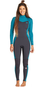 2019 Billabong Junior Girls Furnace Synergy 3/2mm Back Zip Flatlock Wetsuit Pacific N43B08