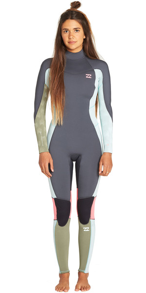 2019 Billabong Junior Girls Furnace Synergy 3/2mm Back Zip Flatlock Wetsuit Seafoam N43B08