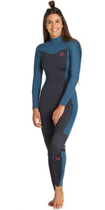 2019 Billabong Womens Furnace Synergy 4/3mm Back Zip Wetsuit Black Marine Q44G04