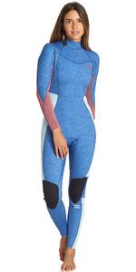 2019 Billabong Womens Furnace Synergy 4/3mm Back Zip Wetsuit Blue Heather Q44G04