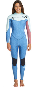 2019 Billabong Womens Furnace Synergy 4/3mm Chest Zip Wetsuit Blue Heather Q44G32