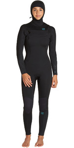 2019 Billabong Womens Furnace Synergy 5/4mm Hooded Chest Zip Wetsuit Black Q45G04