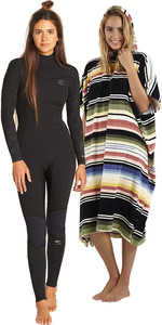 Billabong Womens Furnace Synergy 3/2 Back Zip GBS Wetsuit & Salty Hooded Poncho Package - Black Palms