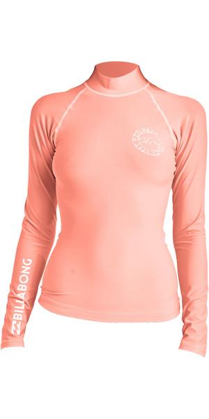 2019 Billabong Womens Logo In Long Sleeve Rash Vest Coral Pink N4GY02