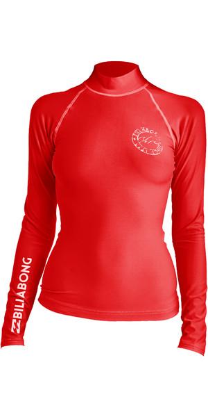 2019 Billabong Womens Logo In Long Sleeve Rash Vest Sunset Red N4GY02