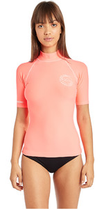 2019 Billabong Womens Logo In Short Sleeve Rash Vest Coral Pink N4GY01