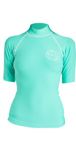 2019 Billabong Womens Logo In Short Sleeve Rash Vest Seagreen N4GY01