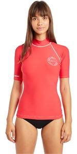 2019 Billabong Womens Logo In Short Sleeve Rash Vest Sunset Red N4GY01