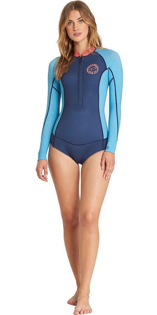 2018 Billabong Womens Salty Dayz Long Sleeve 2mm Spring Wetsuit Beach Blue L42g02 Picture