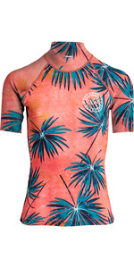 2019 Billabong Womens Surf Capsule Short Sleeve Rash Vest Palm N4GY05