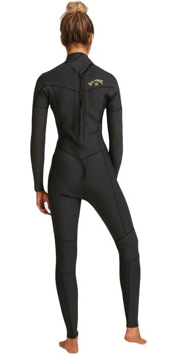 2021 Billabong Womens Synergy 4/3mm Back Zip Wetsuit W44G52 - Black Tropic