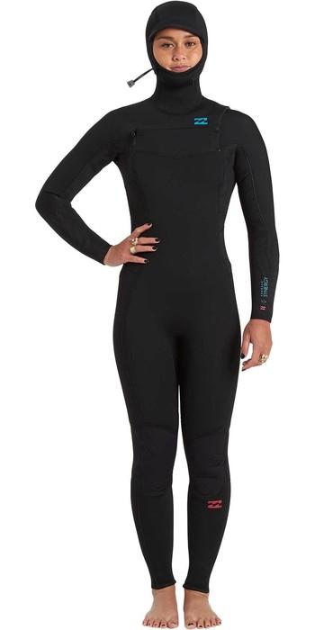 2020 Billabong Womens Synergy 5/4mm Chest Zip Hooded Wetsuit U45G35 - Black