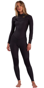 2021 Billabong Womens Synergy 4/3mm Chest Zip Wetsuit W44G51 - Black Tropic