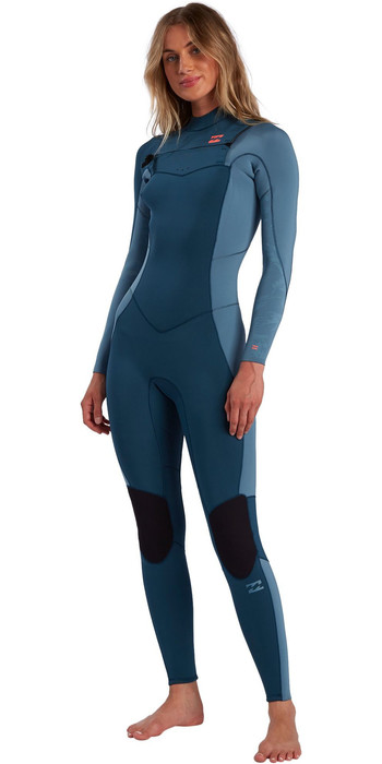 2021 Billabong Womens Synergy 4/3mm Chest Zip Wetsuit W44G51 - Blue Seas