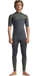 2019 Billabong Mens 2mm Furnace Absolute Comp Chest Zip Wetsuit Black Olive N42M19