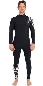 2019 Billabong Furnace Carbon Comp 3/2mm Chest Zip Wetsuit Black Print L43M26