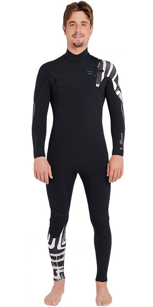 2018 Billabong Furnace Carbon Comp 3/2mm Chest Zip Wetsuit Black Print L43M26