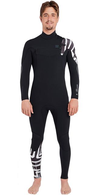 2018 Billabong Furnace Carbon Comp 3/2mm Chest Zip Wetsuit Black Print L43m26 Picture