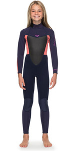 2019 Roxy Girls 3/2mm Prologue Back Zip Full Length Wetsuit Blue Ribbon ERGW103023