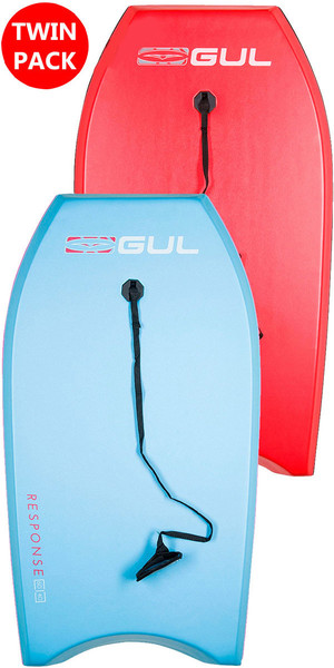 2019 GUL RESPONSE JUNIOR TWIN PACKAGE BODYBOARDS - 2 JUNIOR - LIGHT BLUE & RED