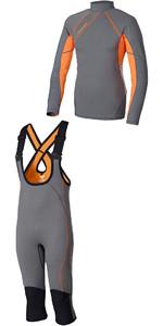 Crewsaver Junior Phase 2 Hiking Shorts & Rash Vest Grey / Orange - Package Deal
