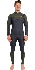 2019 Billabong Mens Furnace Absolute 3/2mm Chest Zip Wetsuit Dark Olive L43M09