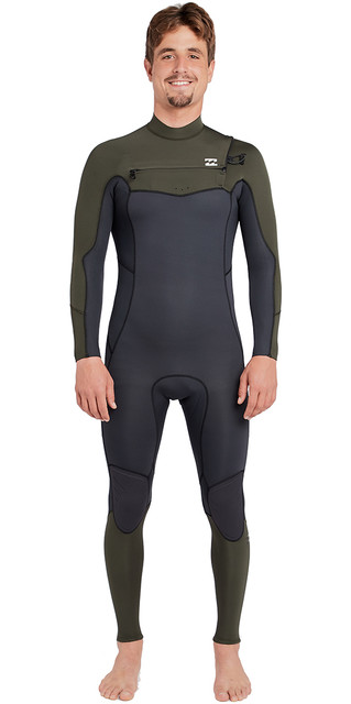 2018 Billabong Furnace Absolute 3/2mm Chest Zip Wetsuit Dark Olive L43m09 Picture