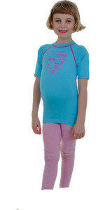 Billabong Love Dots Short Sleeved Rash vest in Aqua P4KY11