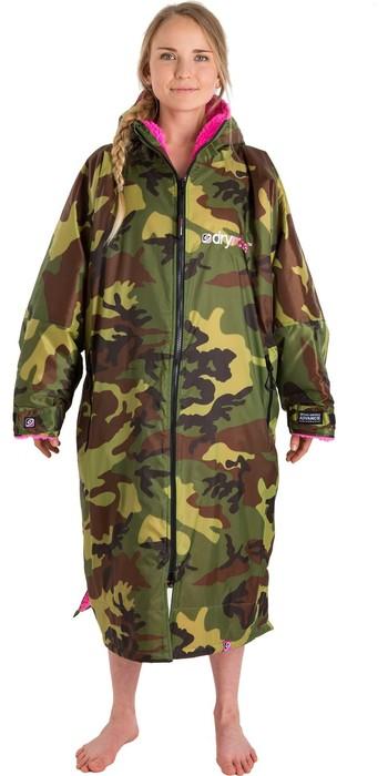 2021 Dryrobe Advance Long Sleeve Premium Outdoor Change Robe DR104 - Camo / Pink