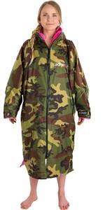 2020 Dryrobe Advance Long Sleeve Premium Outdoor Change Robe DR104 - Camo / Pink