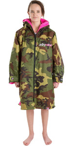 2021 Dryrobe Advance Junior Long Sleeve Premium Outdoor Change Robe / Poncho DR104 - Camo / Pink