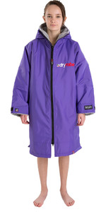 2021 Dryrobe Advance Junior Long Sleeve Premium Outdoor Change Robe / Poncho DR104 - Purple / Grey
