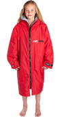 2021 Dryrobe Advance Junior Long Sleeve Premium Outdoor Change Robe / Poncho DR104 - Red / Grey