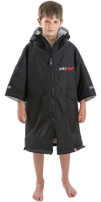 2021 Dryrobe Advance Junior Short Sleeve Premium Outdoor Change Robe / Poncho DR100 - Black / Grey
