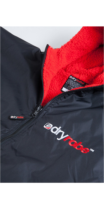 2021 Dryrobe Advance Long Sleeve Premium Outdoor Change Robe / Poncho DR104 - Black / Red