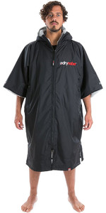 2020 Dryrobe Advance Short Sleeve Premium Outdoor Change Robe / Poncho DR100 - Black / Grey