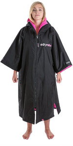 2020 Dryrobe Advance Short Sleeve Premium Outdoor Change Robe / Poncho DR100 - Black / Pink