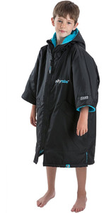 2020 Dryrobe Advance Junior Short Sleeve Premium Outdoor Change Robe / Poncho DR100 - Black / Blue